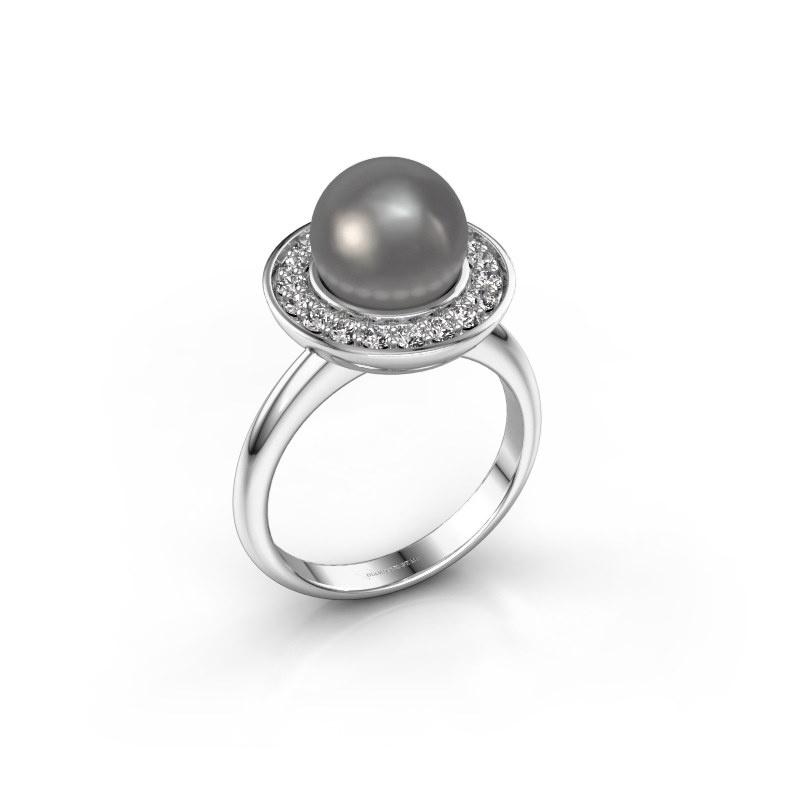 Ring Sarah 585 witgoud grijze parel 9 mm
