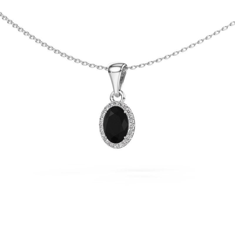 Hanger Seline ovl 375 witgoud zwarte diamant 1.15 crt