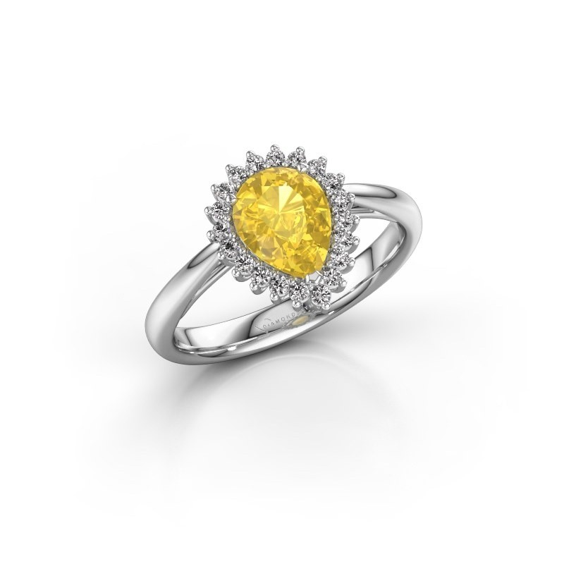 Engagement ring Tilly per 1 585 white gold yellow sapphire 8x6 mm