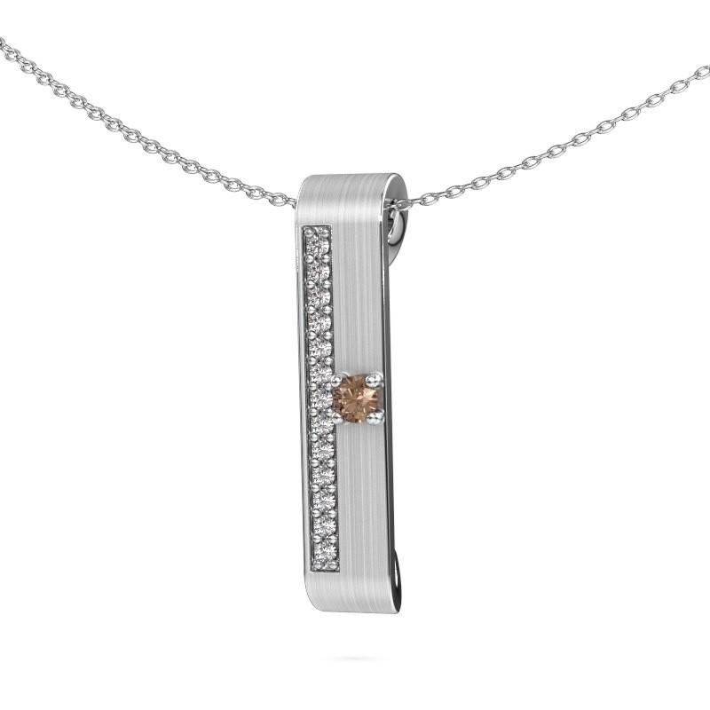 Halsketting Vicki 925 zilver bruine diamant 0.295 crt