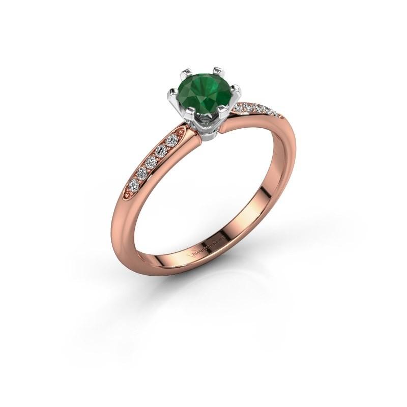 Verlovingsring Tiffy 2 585 rosé goud smaragd 4.7 mm