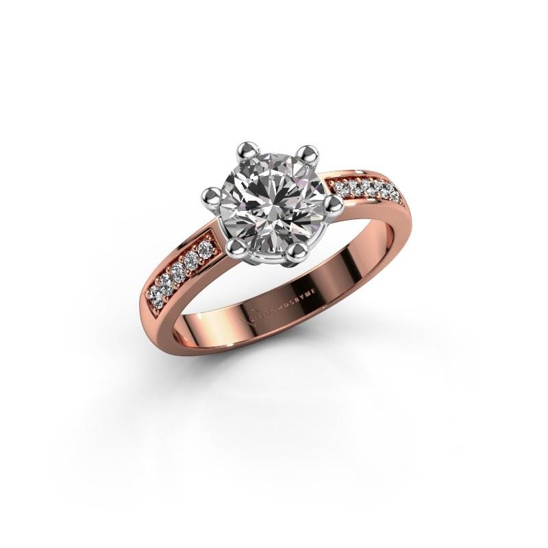 Verlovingsring Luna 2 585 rosé goud diamant 1.00 crt