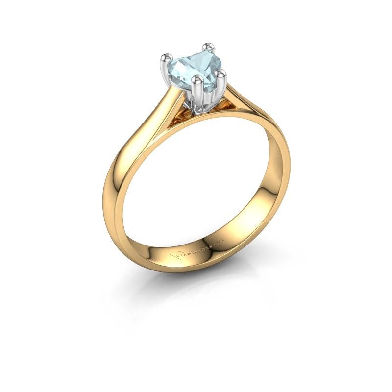 Engagement ring Sam Heart 585 gold aquamarine 5 mm