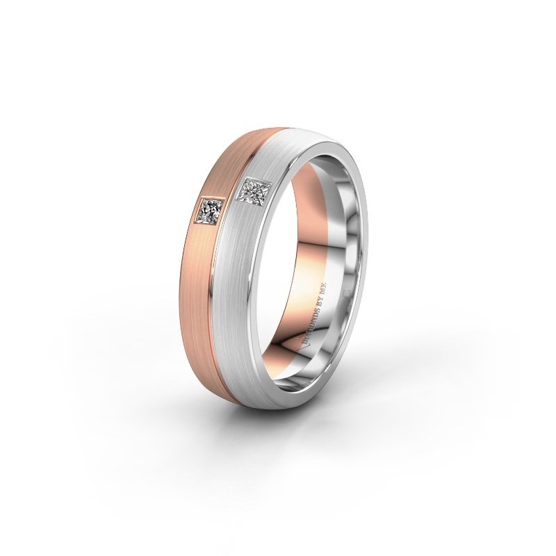 Wedding ring WH0250L26BM 585 rose gold zirconia ±0.24x0.08 in
