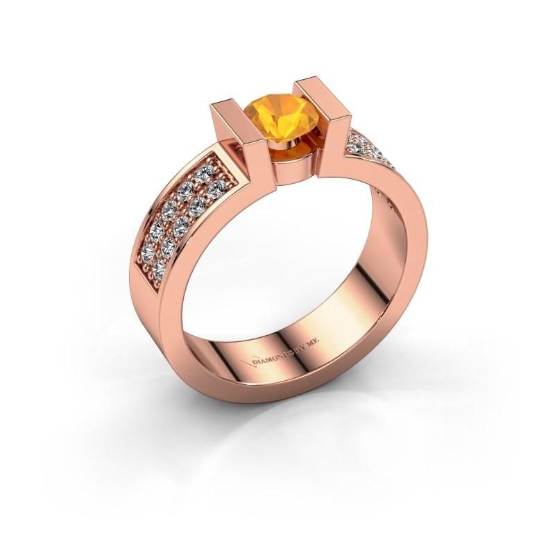 Verlovingsring Lieve 3 375 rosé goud citrien 5 mm