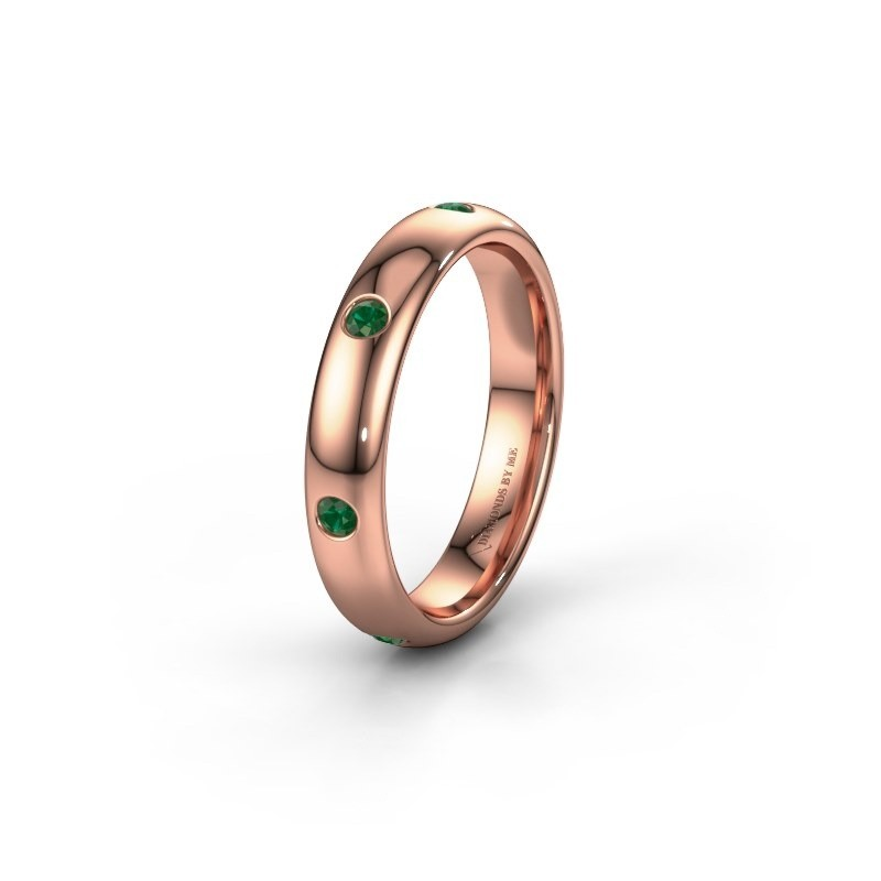 Wedding ring WH0105L34BP 585 rose gold emerald ±0.16x0.08 in