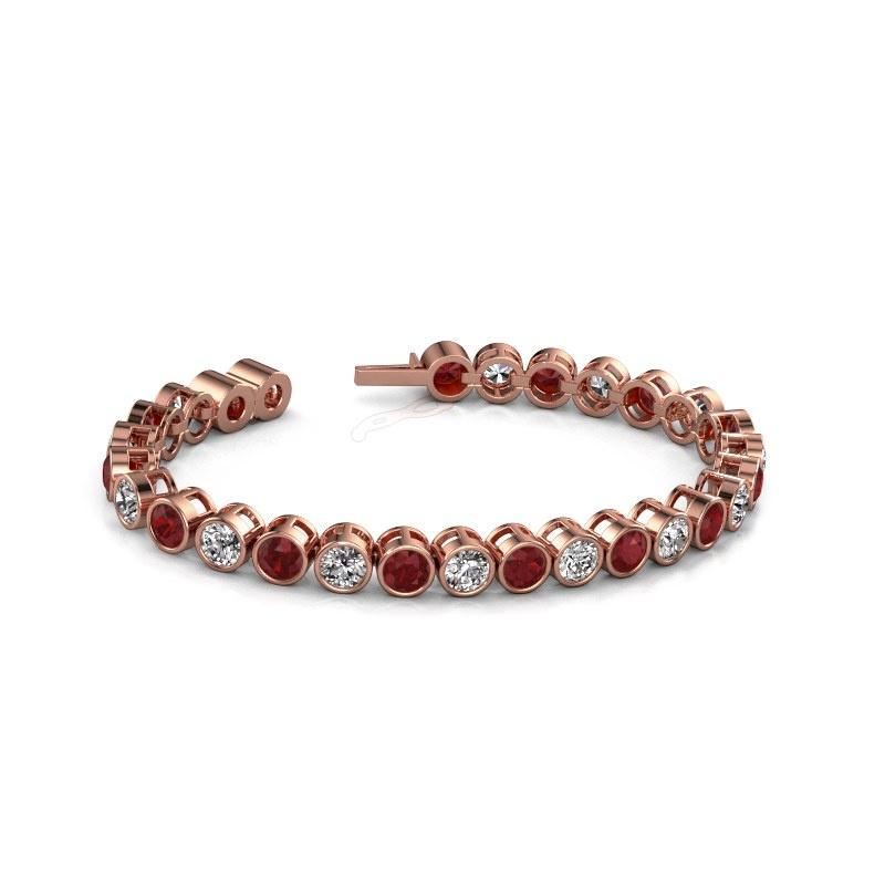 Tennisarmband Allegra 5 mm 375 rosé goud robijn 5 mm