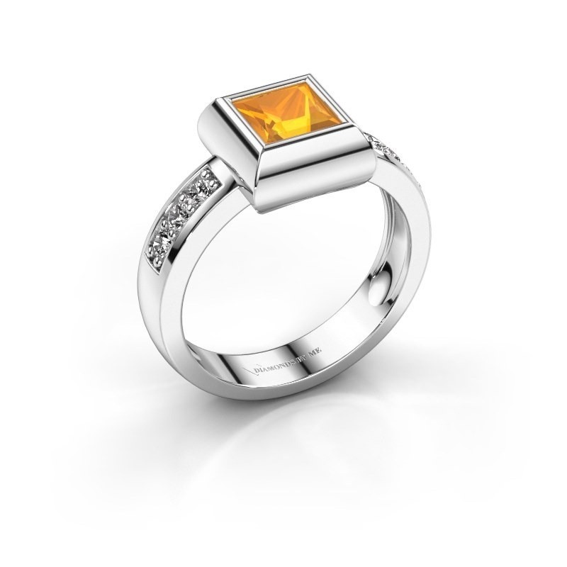 Ring Charlotte Square 585 Weißgold Citrin 5 mm