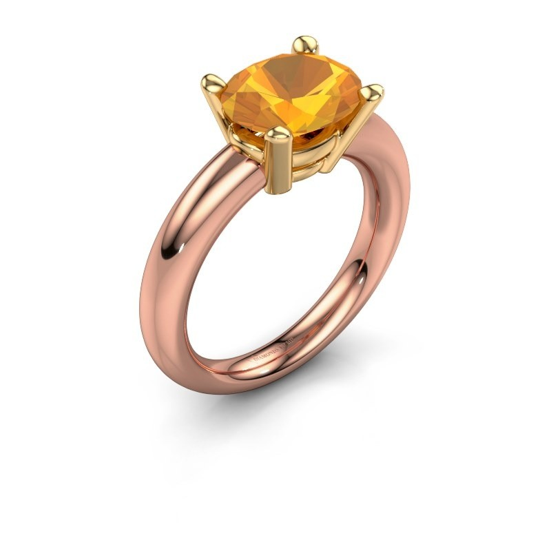 Bague Janiece 585 or rose citrine 10x8 mm