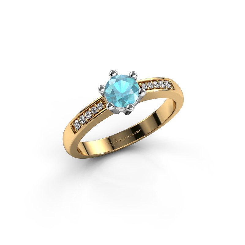Verlovingsring Luna 2 585 goud blauw topaas 5 mm