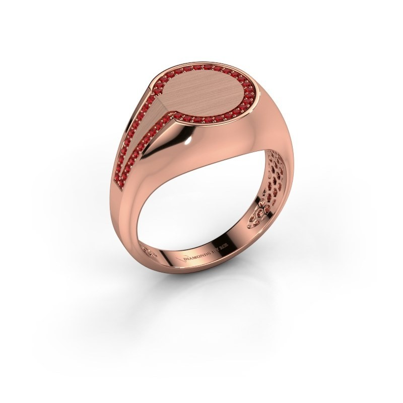 Heren ring Gijs 375 rosé goud robijn 1 mm