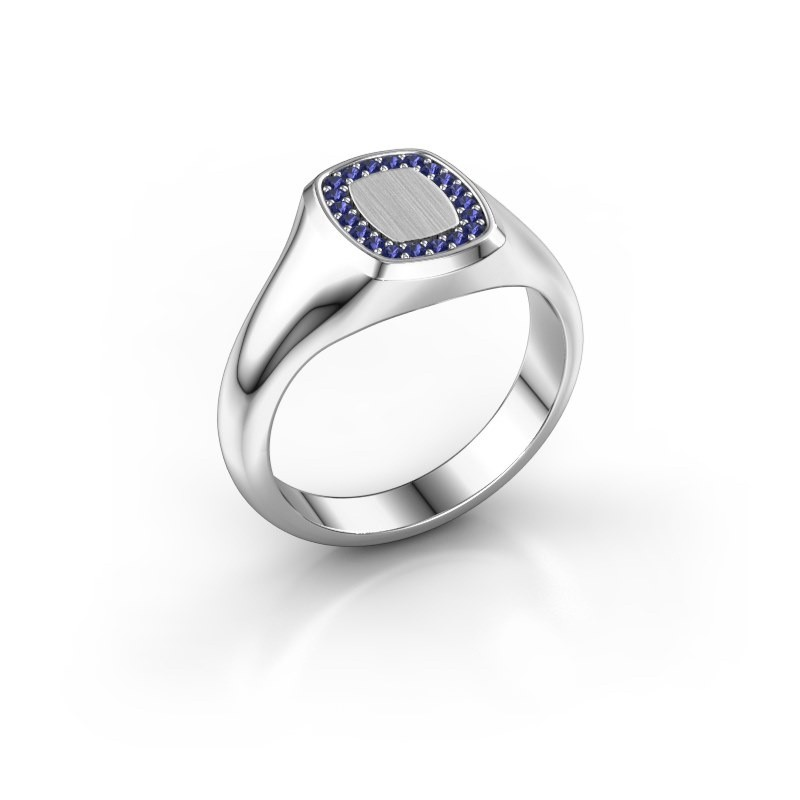 Men's ring Floris Cushion 1 375 white gold sapphire 1.2 mm