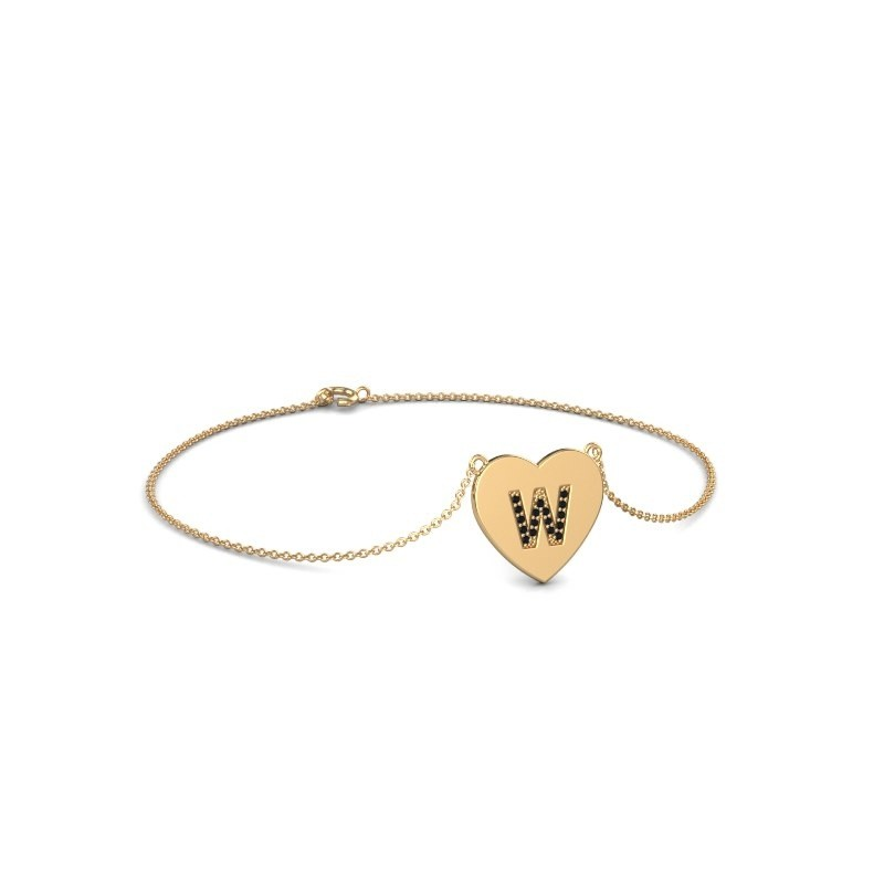 Bracelet Initial Heart 585 or jaune diamant noir 0.084 crt
