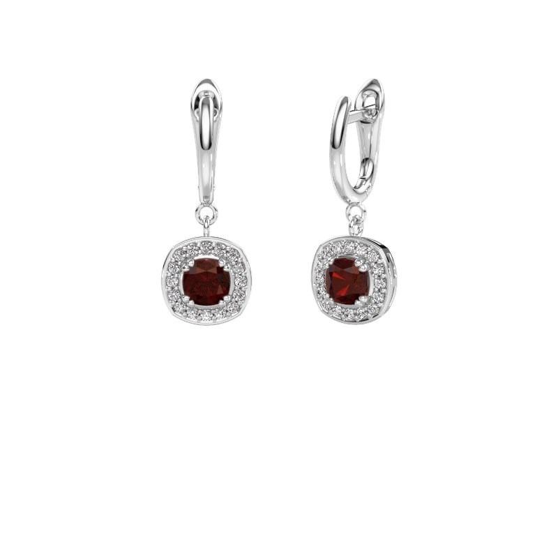 Drop earrings Marlotte 1 585 white gold garnet 5 mm