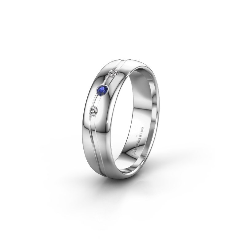 Friendship ring WH0907L35X 585 white gold sapphire ±0.20x0.05 in