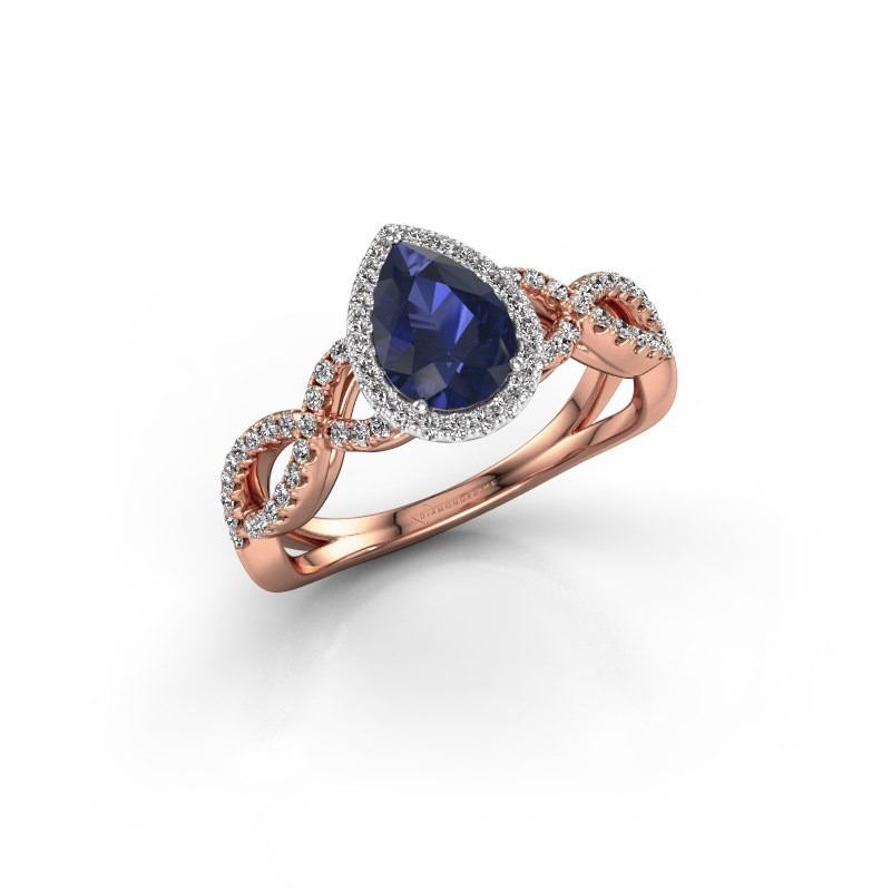 Engagement ring Dionne pear 585 rose gold sapphire 7x5 mm