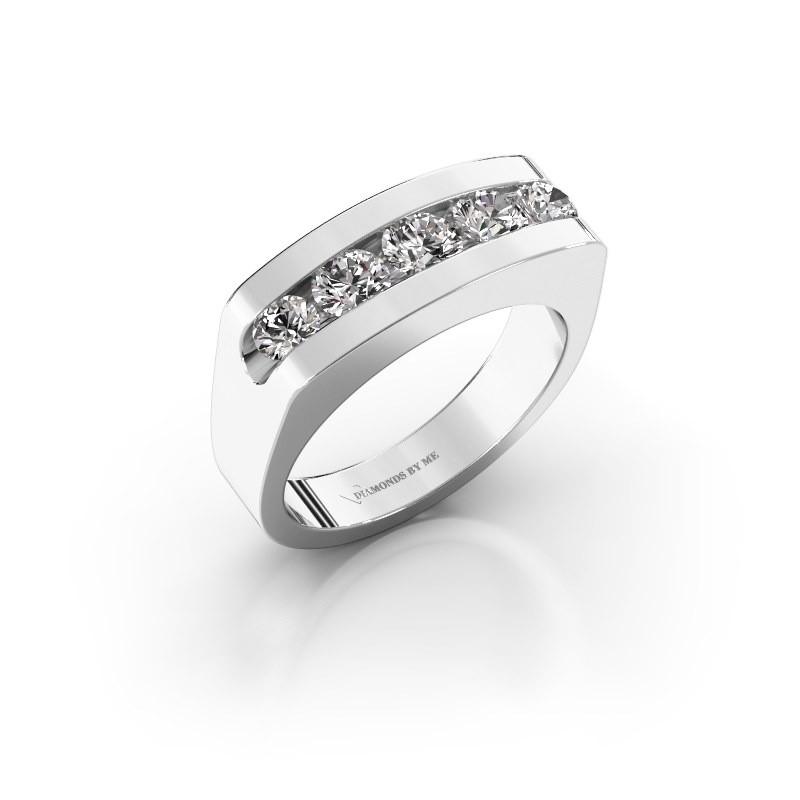 Bague pour homme Richard 375 or blanc diamant synthétique 1.110 crt