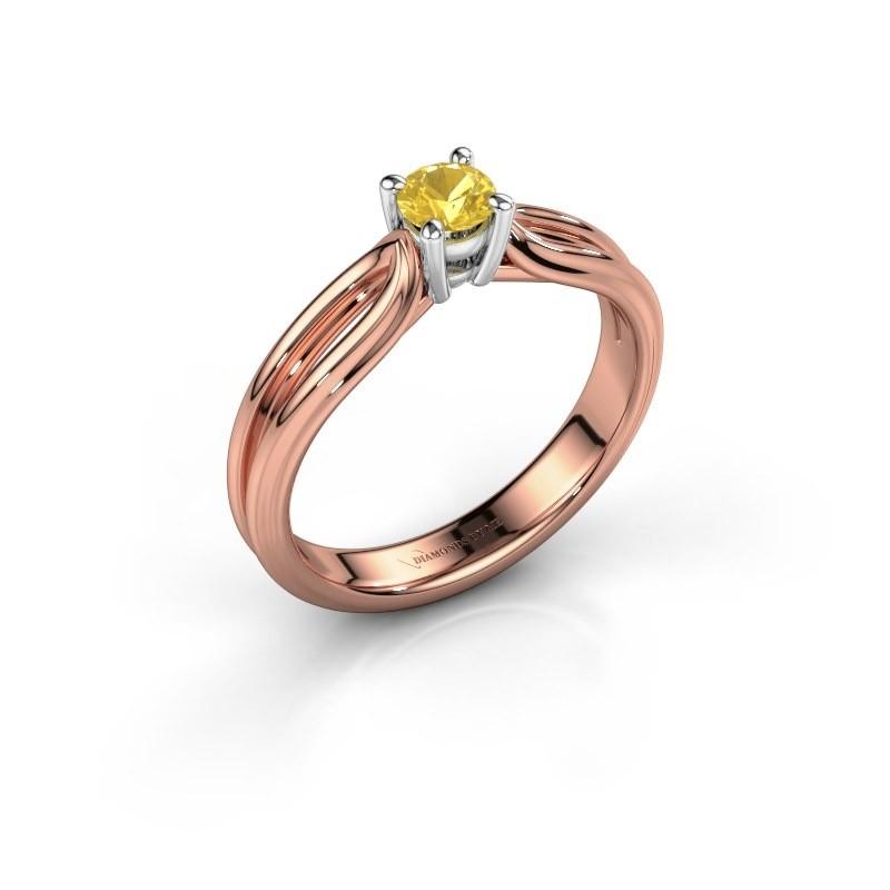 Verlovingsring Antonia 1 585 rosé goud gele saffier 4 mm