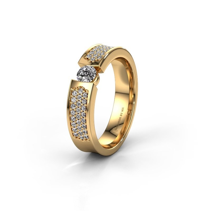 Trouwring WH2100L 375 goud zirkonia ±5x3 mm