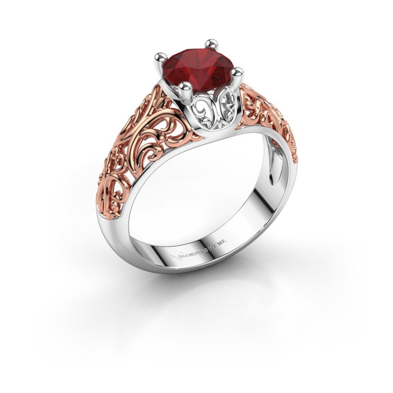 Ring Mirte 585 witgoud robijn 6.5 mm
