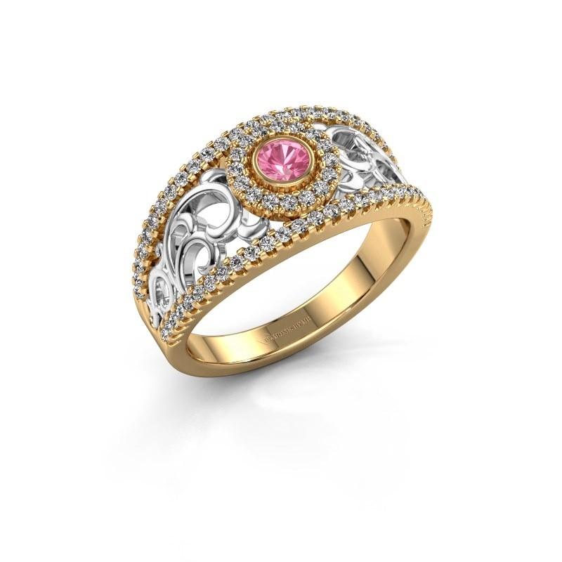 Verlovingsring Lavona 585 goud roze saffier 3.4 mm