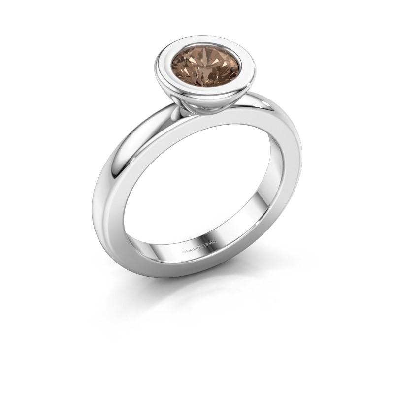 Stapelring Eloise Round 585 witgoud bruine diamant 0.80 crt