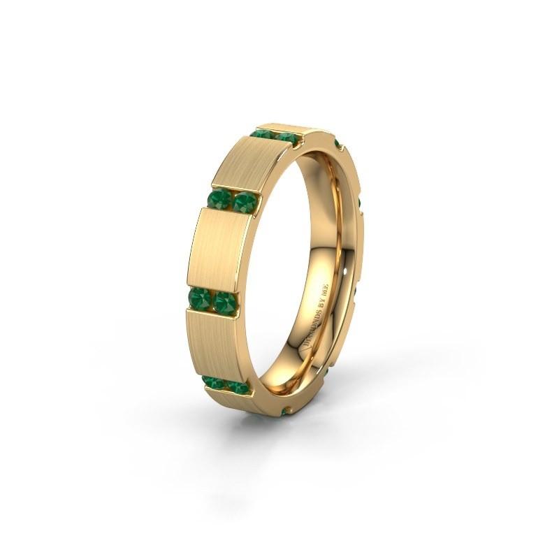 Huwelijksring WH2132L14BM 375 goud smaragd ±4x2.2 mm