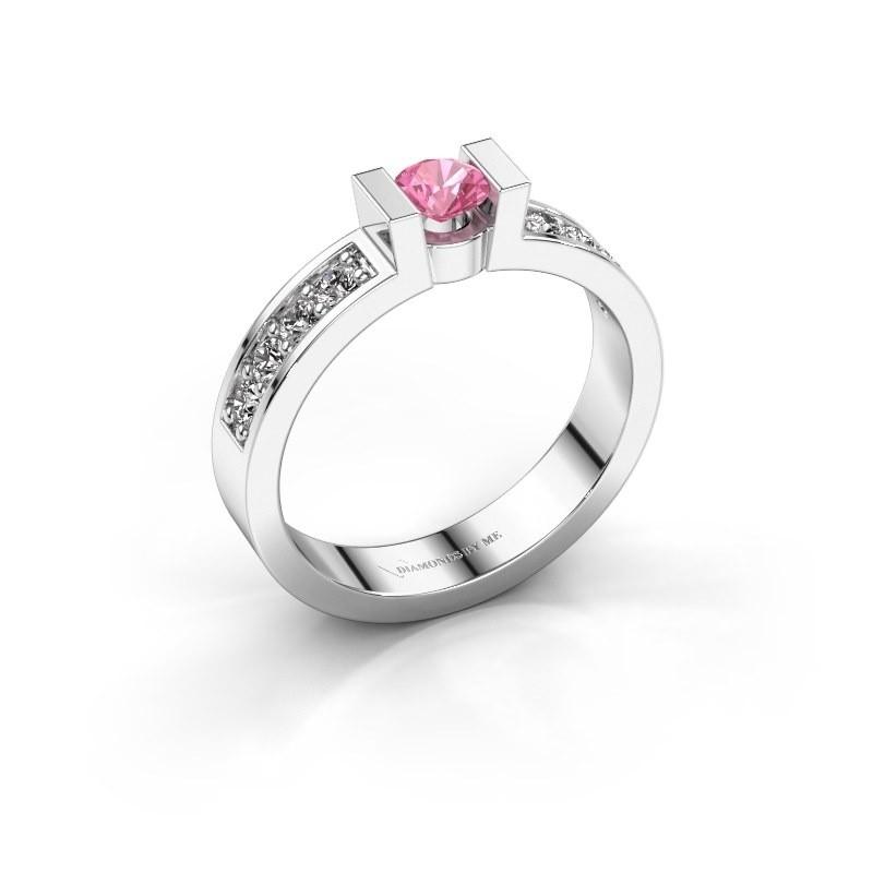 Verlovingsring Lieve 2 950 platina roze saffier 4 mm