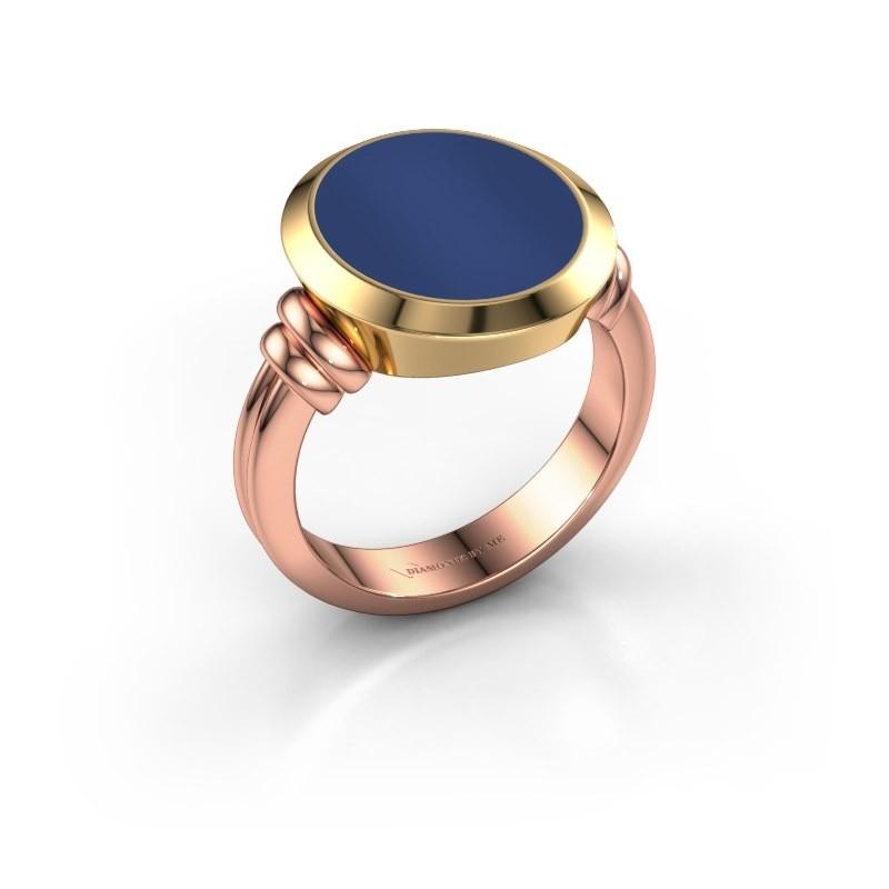 Zegelring Jake 4 585 rosé goud lapis lazuli 15x13 mm