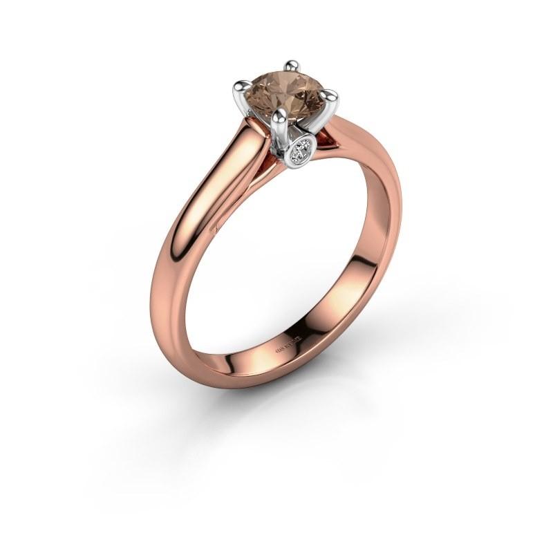 Verlovingsring Valorie 1 585 rosé goud bruine diamant 0.50 crt
