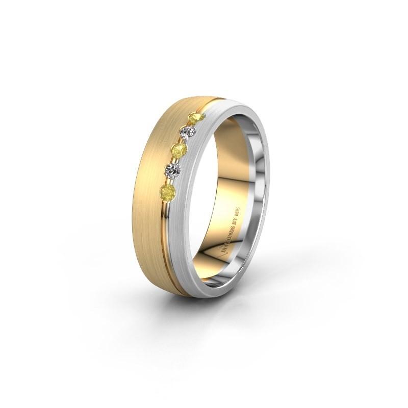 Trouwring WH0323L25AM 585 goud gele saffier ±6x1.7 mm