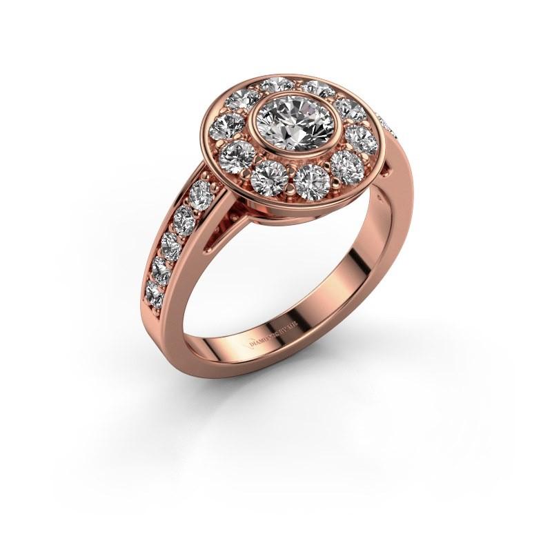 Verlovingsring Raven 2 375 rosé goud diamant 1.35 crt