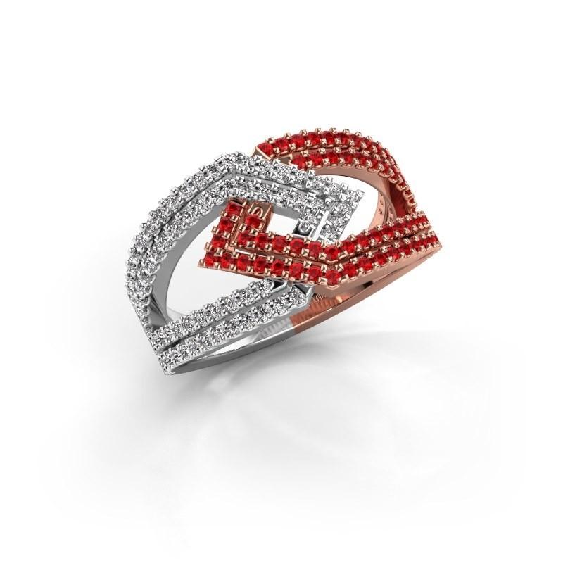 Ring Emanuelle 585 rosé goud robijn 1 mm