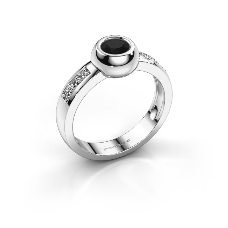 Ring Charlotte Round 585 witgoud zwarte diamant 0.60 crt