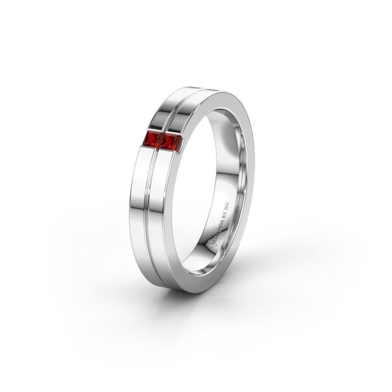 Wedding ring WH0225L14B 950 platinum garnet ±0.16x0.08 in
