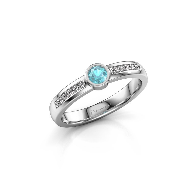 Engagement ring Ise 2 925 silver blue topaz 3.7 mm