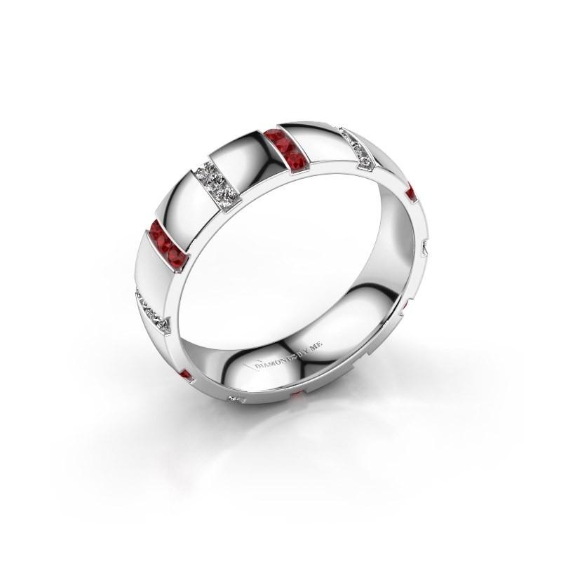Bague de mariage Juul 950 platine rubis ±5x1.8 mm