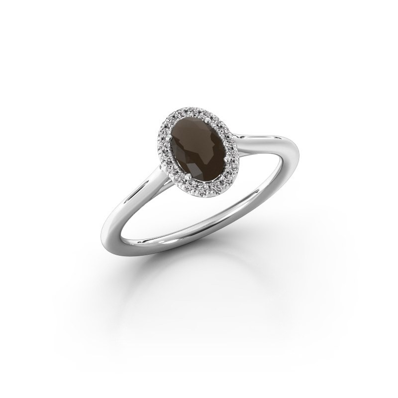 Engagement ring Seline 1 950 platinum smokey quartz 6x4 mm