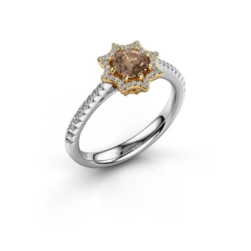 Aanzoeksring Zena 585 goud bruine diamant 0.730 crt