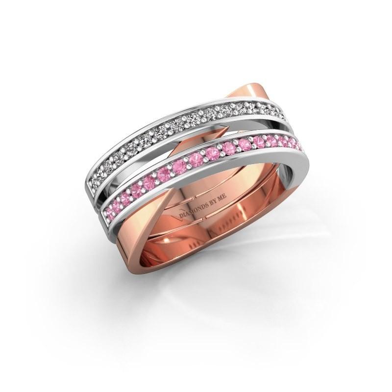 Ring Margje 585 rosé goud roze saffier 1.3 mm