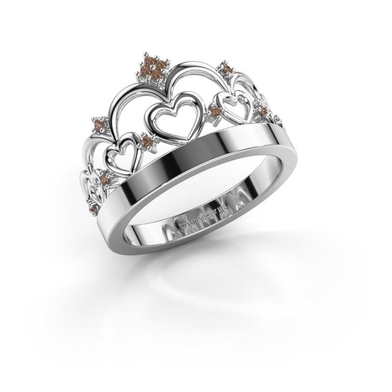 Ring Kroon 1 925 zilver bruine diamant 0.06 crt