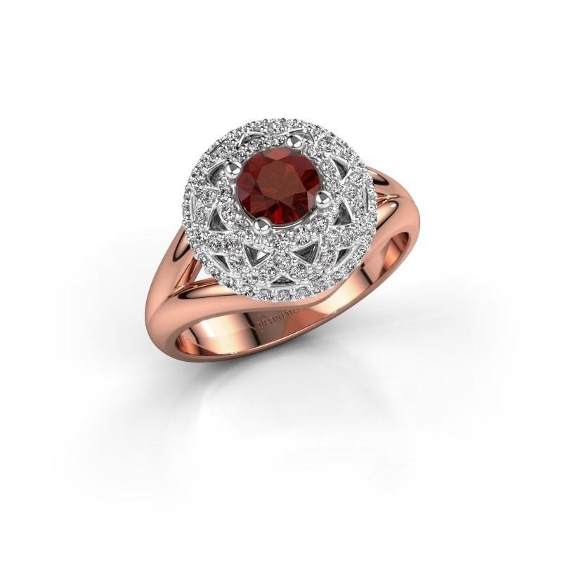 Ring Leonora 585 rose gold garnet 5 mm