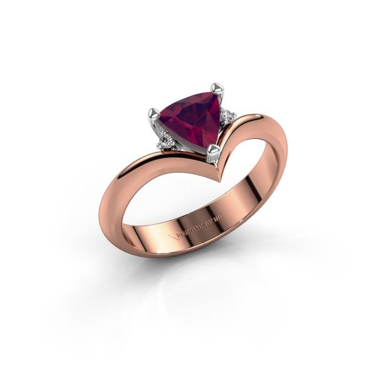 Ring Arlette 585 rosé goud rhodoliet 7 mm