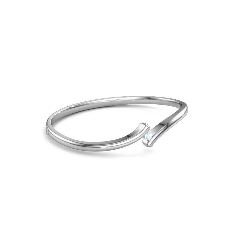Slavenarmband Amy 950 platina aquamarijn 3.4 mm