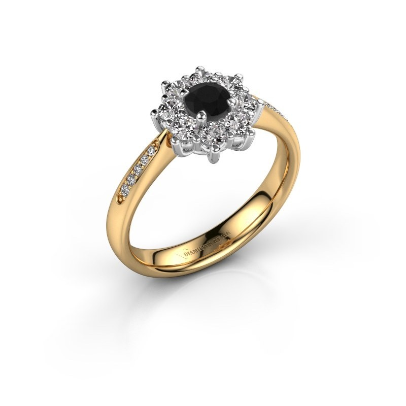 Verlovingsring Carolyn 2 585 goud zwarte diamant 0.18 crt