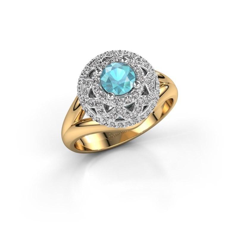 Ring Leonora 585 gold blue topaz 5 mm