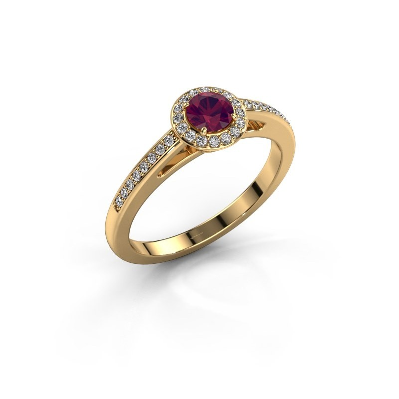 Engagement ring Aaf 375 gold rhodolite 4.2 mm