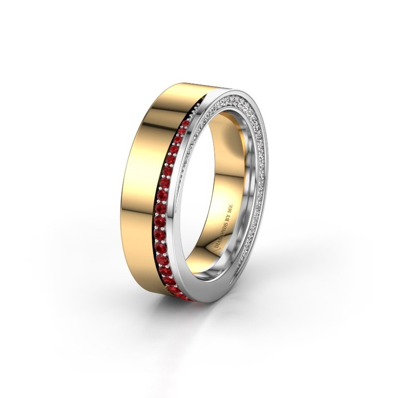 Wedding ring WH1002L15DP 585 gold ruby ±6x2.3 mm