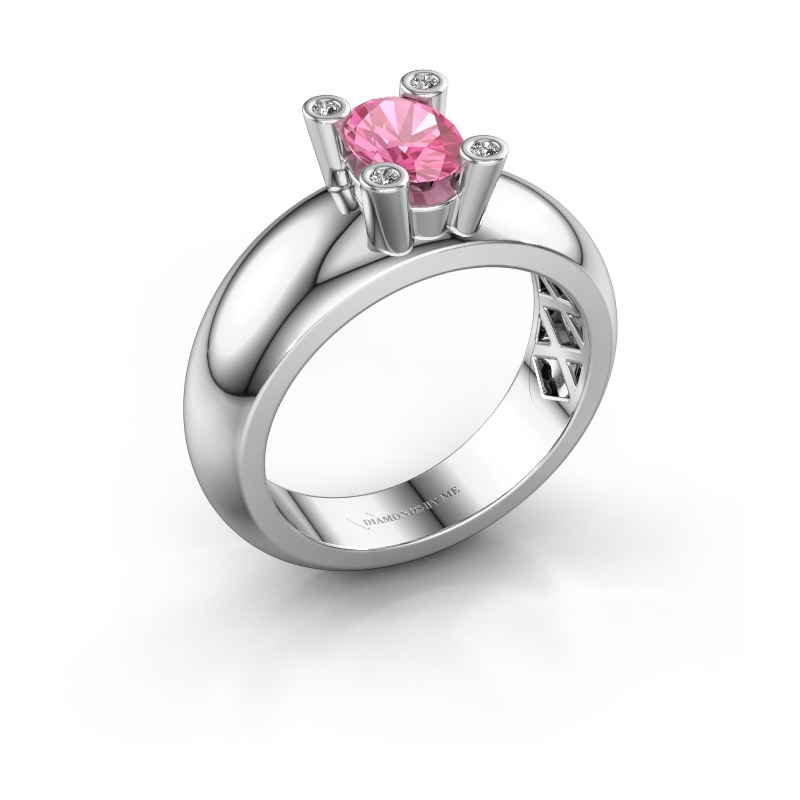 Ring Cornelia Oval 925 silver pink sapphire 7x5 mm