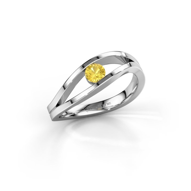 Engagement ring Sigrid 1 585 white gold yellow sapphire 3.7 mm